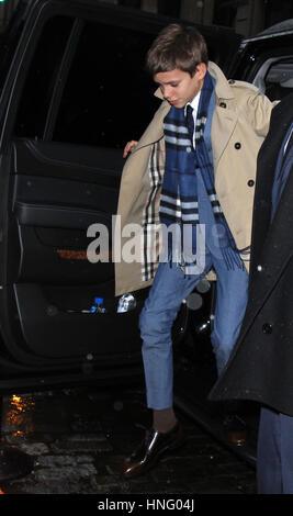 New York, NY, USA. 12th Feb, 2017. Romeo Beckham seen arriving at Balthazar Restaurant in New York City on February - Stock Photo
