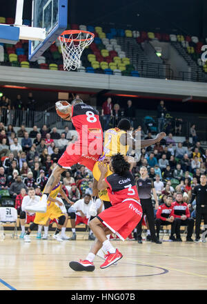 London, UK. 12th February, 2017. Leicester Riders defeat London Lions  84-80 in overtime at Copper box, Olympic - Stock Photo