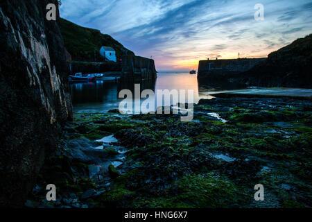 Porthgain sunset Pembrokeshire - Stock Photo