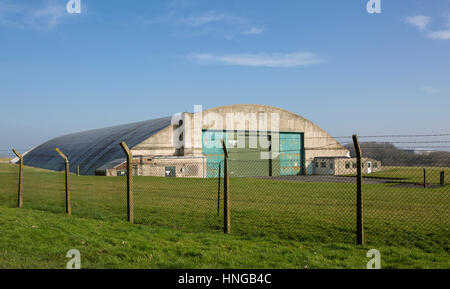Swindon Science museum near Wroughton, The old aircraft hangars at former RAF Wroughton site, near Swindon, Wiltshire, - Stock Photo