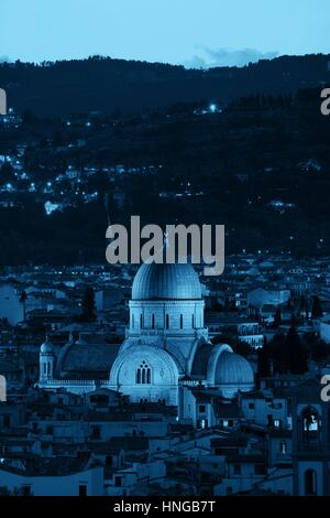 Great Synagogue of Florence or Tempio Maggiore among buildings. Italy. - Stock Photo