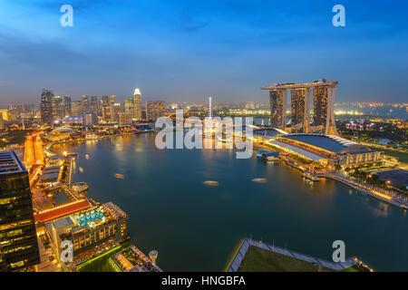 Singapore aerial view city skyline at night, Marina Bay, Singapore - Stock Photo