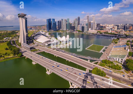 Singapore city skyline at Marina Bay view from Singapore Flyer - Stock Photo