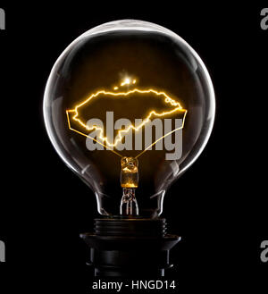 Clean and shiny lightbulb with Honduras as a glowing wire.(series) - Stock Photo