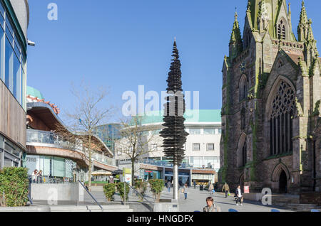 St Martin in the Bullring church by Bullring Shopping Centre in Birmingham - Stock Photo
