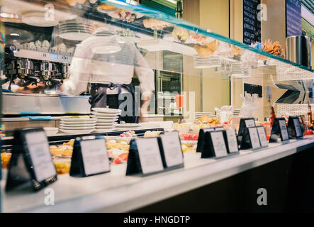 BOLOGNA, ITALY - FEBRUARY 08, 2017. Espresso bar in food court. - Stock Photo