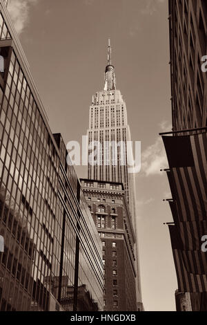 New York City - SEP 11: Empire State Building viewed from street on September 11, 2015 in New York City. With 8.5M, - Stock Photo
