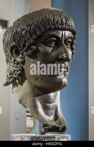 Rome. Italy. Colossal bronze head of Roman Emperor Constantine I, The Great (ca. 272-74-337 AD), 4th C AD, Capitoline - Stock Photo
