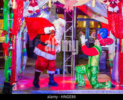 Actors in the Winter Parq Show at the Linq in Las Vegas , The Linq is dining and shopping district and High Roller - Stock Photo