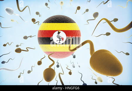 Emigration concept illustration: Sperms of different colors (for different races) swimming away from an egg cell - Stock Photo