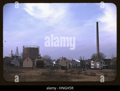 Industrial town in Massachusetts, possibly New Bedford - Stock Photo