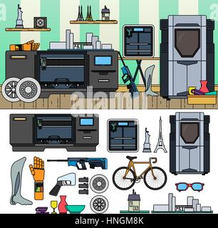 Professional 3D printing. 3D equipment and goods in the room. Modern technology concept. Bicycle, 3D printer, goods - Stock Photo