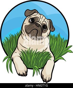 Pug dog. Animal art, cute cartoon style, vector hand drawn illustration. Suitable for pet shop or zoo ads, label - Stock Photo