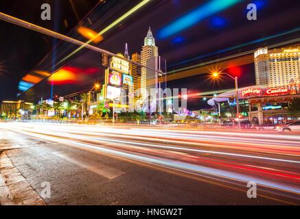 Las Vegas,Nevada,usa.07/28/16 : scenic view of Las Vegas cityscape at night with traffic lighting,las vegas,Nevada,usa. - Stock Photo