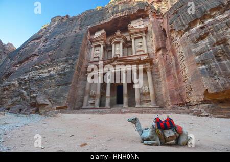 Al Khazneh in the ancient city of Petra, Jordan. The Treasury. Petra has led to its designation as a UNESCO World - Stock Photo