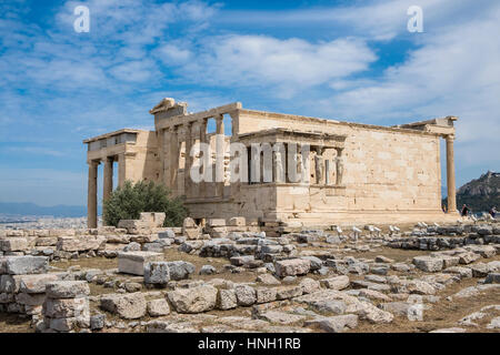 Erechtheion Temple with Caryatids, Caryatid Porch, Acropolis, Athens, Greece - Stock Photo
