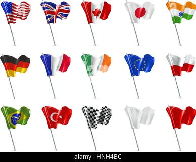 Various flags, 3d vector icon set - Stock Photo