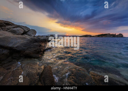 sunrise in Ammouliani Island, Chalkidiki, Northern Greece - Stock Photo