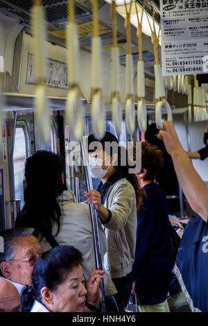KYOTO, JAPAN - OCTOBER 7, 2016: Unidentified people at Kyoto subway in Japan. Kyoto Municipal Subway began operation - Stock Photo