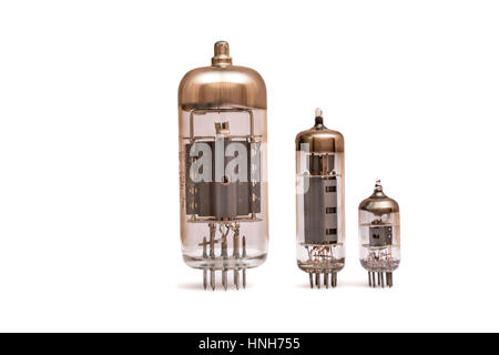 Group of old vacuum tubes isolated on the white background, radio valves. - Stock Photo