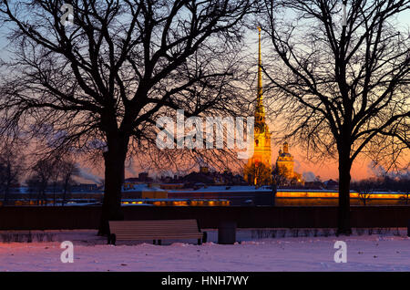 The view from Vasilyevsky Island to Peter and Paul Fortress in the morning light in winter, Saint-Petersburg, Russia - Stock Photo