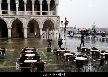 Venice, Italy. High water (acqua alta) in Piazza San Marco. February, 2009. - Stock Photo