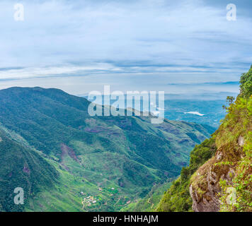 The World's End is the main landmark of Horton Plains Park that boasts a great view from the top of the mountain - Stock Photo