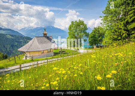 Beautiful scenery in the Alps with chapel and green meadows full of blooming flowers on a sunny day with blue sky - Stock Photo