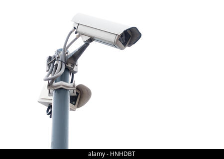 Outdoor surveillance cameras on the stand - Stock Photo