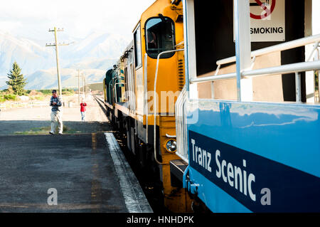 CHRISTCHURCH, NEW ZEALAND - March 26, 2011:KiwiRail Tranz Scenic train journey is New Zealand's only passenger rail - Stock Photo