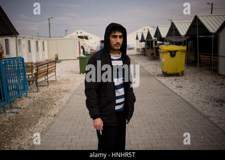 Gevgelija, Macedonia. 13th Feb, 2017. Falah from Iraq arrived one year ago at the Temporary Transit Center of Gevgelija - Stock Photo