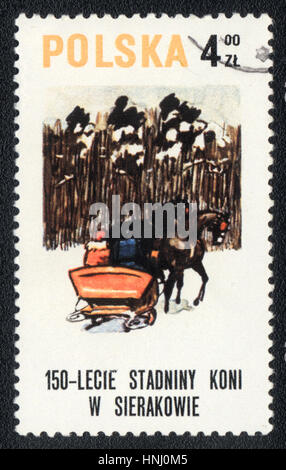 A postage stamp printed in Poland shows a  Sledge, drawn by two horses,  1980 - Stock Photo