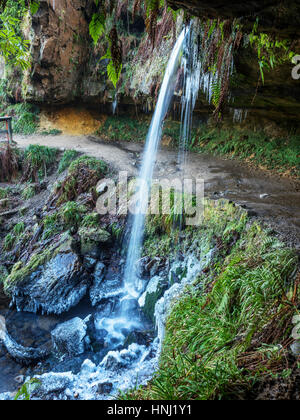 Path Behind the Yad Waterfall on Maspie Burn on the Falkland Estate in Winter near Falkland Fife Scotland - Stock Photo