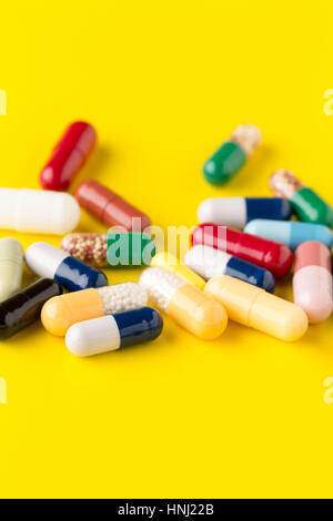 Pills different on color background - Stock Photo