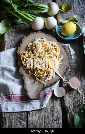 Homemade chickpea flour tagliatelle - Stock Photo