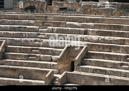 Details of the steps of the ancient Roman amphitheater in Lecce - Stock Photo