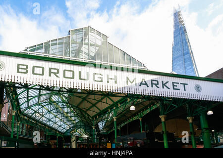 London, UK - November 7, 2016 - Borough Market with The Shard building in the background - Stock Photo