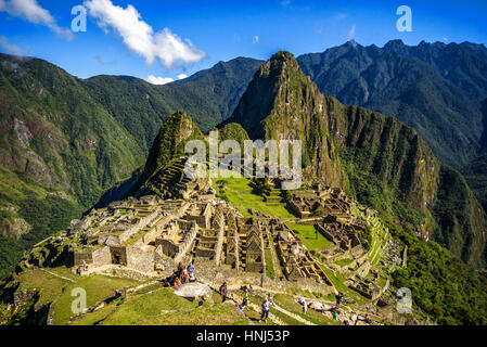 View of the Lost Incan City of Machu Picchu near Cusco, Peru. Machu Picchu is a Peruvian Historical Sanctuary. People - Stock Photo