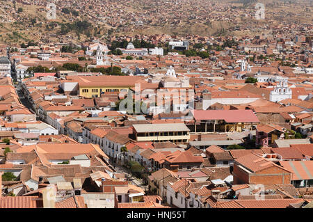 The capital city of Bolivia - Sucre (white city) has a rich colonial heritage, evident in its buildings, street - Stock Photo