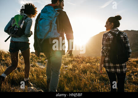 Rear view shot of young friends in countryside during summer holiday hiking. Group of hikers walking in the nature. - Stock Photo
