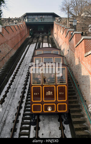 Buda Castle Hill Funicular, Budapest, Hungary - Stock Photo