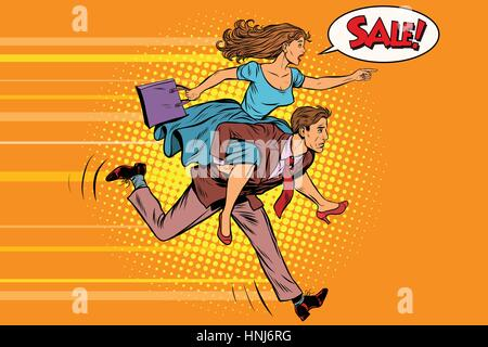 wife riding husband runs on sale. Vintage pop art retro vector. High demand - Stock Photo