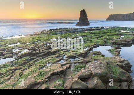 Davenport Rugged Coastline Sunset - Stock Photo