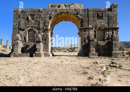 Extensive complex of ruins of the Roman city Volubilis - of ancient capital city of Mauritania in the central part - Stock Photo