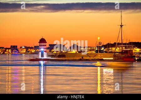 Luxury yachts at Zadar harbor evening view, Dalmatia, Croatia - Stock Photo