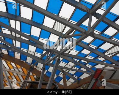 Paris, France - January 15, 2017: Details of modern architecture of the Louis Vuitton Foundation. Art museum and - Stock Photo
