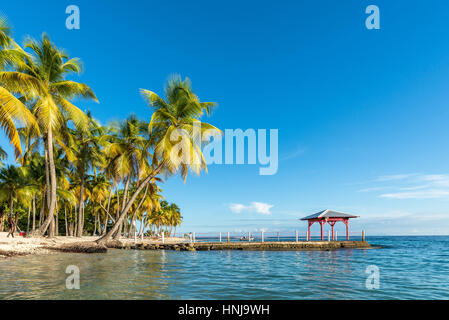 beachfront of Plage de la Caravelle in Guadeloupe - Stock Photo