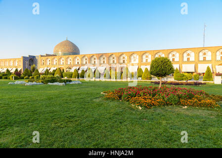 ISFAHAN, IRAN - AUG 28, 2016: Sheikh Lotfollah Mosque east of Naqsh-e Jahan Square, Isfahan - one of the UNESCO - Stock Photo