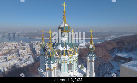 Saint Andrew's Church in Kiev on the Andriyivsky Descent was built in 1747-1754 and designed by the famous architect - Stock Photo