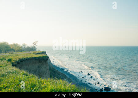 Panoramic view of nice colorful huge cliff and sea in germany - Stock Photo